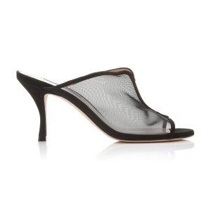 Stuart WeitzmanMya Mesh And Leather 网纱高跟鞋