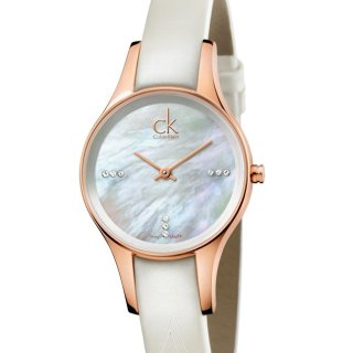 $99 (原价$549)史低价:Calvin Klein Simplicity 系列镶钻珍珠母贝时装女表