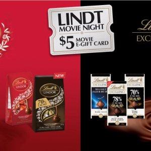 买3块$1.99巧克力返$5礼卡瑞士莲请你看电影:买瑞士莲巧克力送Cineplex礼卡