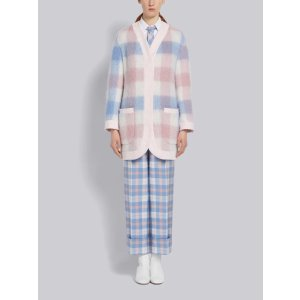 Thom BrowneLight Blue and Pink Cashmere Dropped Shoulder Menswear Fit Cardigan Jacket | Thom Browne Official