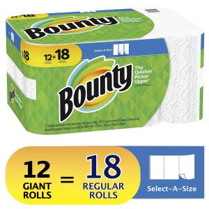 $14.98(原价$21.97)Bounty 大大卷厨房纸 12卷装 相当于普通的18卷