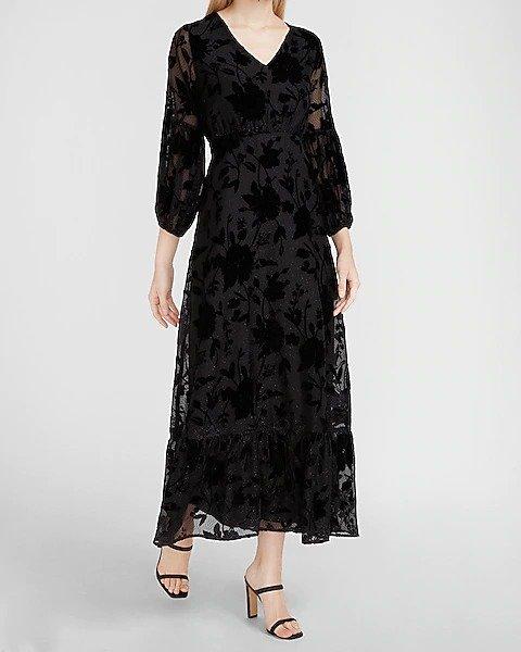 丝绒印花双层泡泡袖连衣裙