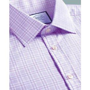 Charles TyrwhittClassic fit brushed-back basketweave lilac check shirt
