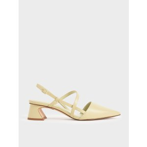 Charles & KeithYellow Strappy Trapeze Heel Pumps | CHARLES & KEITH