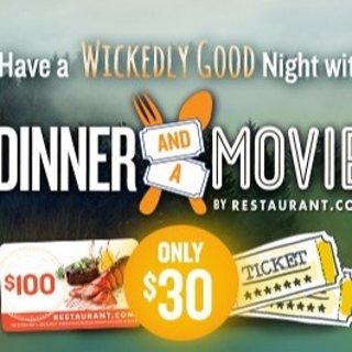 $30 相当于2.4折 来一场浪漫约会吧白菜价:2张电影票+价值$100餐厅礼卡 总价值$124