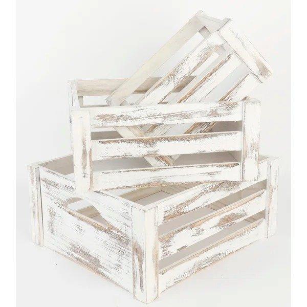 白色木质收纳筐3件套
