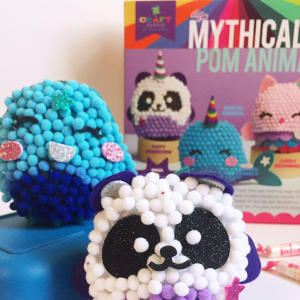 Craft-tastic – DIY Mythical Pom Animals – Craft Kit Makes 3 Pompom Stuffed Animals – Magical Narwhal, Puffy Pandacorn & Cuddly Meowmaid