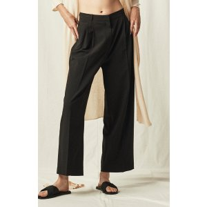 WIDE LEG TAILORED TROUSERS - BLACK