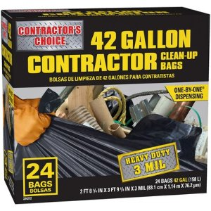 Contractor's Choice Contractor 24-Pack 42-Gallon Black Outdoor Plastic Construction Trash Bag