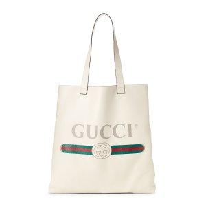 Gucci白色 Gucci Print 托特包
