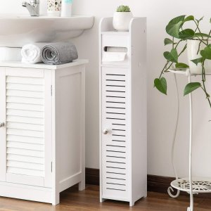 AOJEZOR Small Bathroom Storage Corner Floor Cabinet with Doors and Shelves