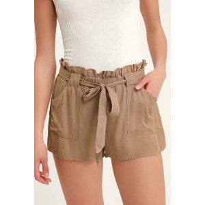 Belt It Out Brown Paper Bag Waist Shorts