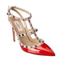 Valentino 红色漆皮铆钉高跟鞋