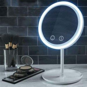 $16.72(原价$35.99)团购:LED灯化妆镜 内置防汗风扇 5倍放大吸盘镜 自拍神器