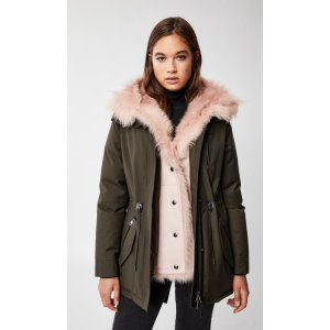 Mackagedown parka with removable shearling bib