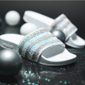 正价款7折+包邮adidas官网 夏日必备超美潮拖 快来收新款布灵水晶拖
