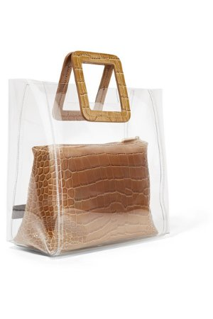 STAUD | Shirley croc-effect leather and PVC tote | NET-A-PORTER.COM