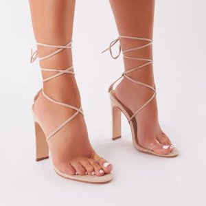Geo Lace Up Heels in Nude Faux Suede