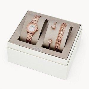 7折+折上8折FOSSIL 女式腕表礼盒 含精美手链 可免费刻字 情人节好礼首选