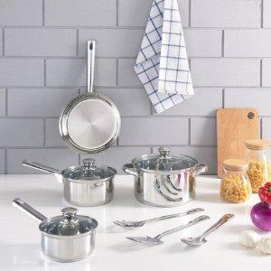 $19.97 (原价$39.97)Mainstays 不锈钢锅具厨具套装 10件