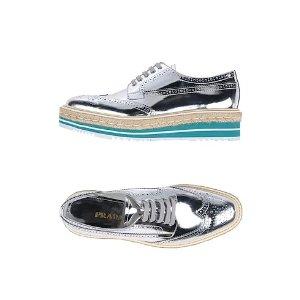 Prada银色厚底鞋