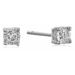 Amazon Collection925 纯银 0.1克拉钻石耳钉