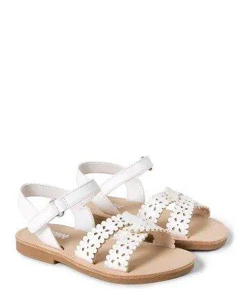 女童花朵白色小凉鞋
