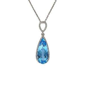 EffyFine Jewelry 14K 7.55 ct. tw. Diamond & Blue Topaz Necklace