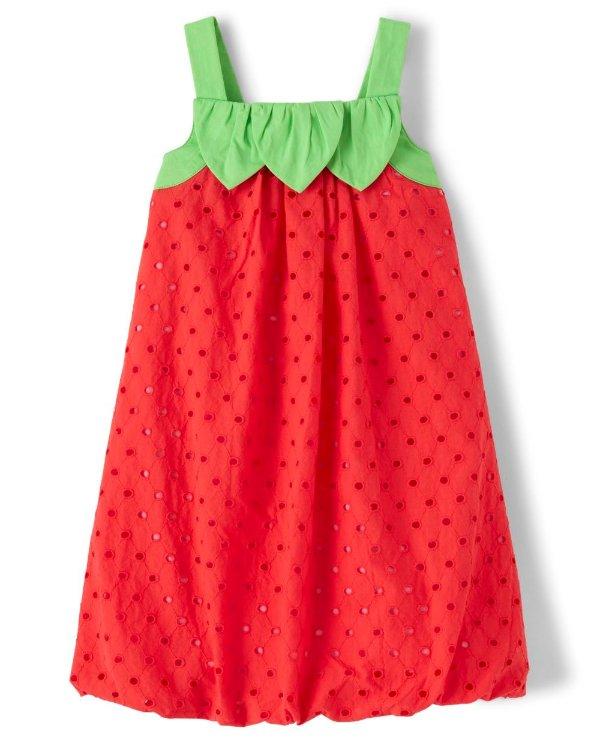 草莓吊带连衣裙