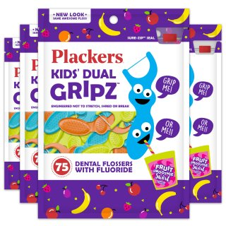 $7.16(4 Pack) Plackers Kids Dental Floss Picks, Fruit Smoothie Swirl with Fluoride, Dual Grip - 75 Count