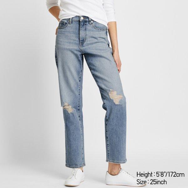 高腰破洞牛仔裤
