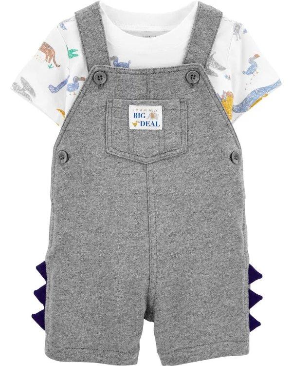 婴儿恐龙T恤+背带裤套装