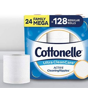 Cottonelle Ultra CleanCare Toilet Paper 24 Family Mega Rolls