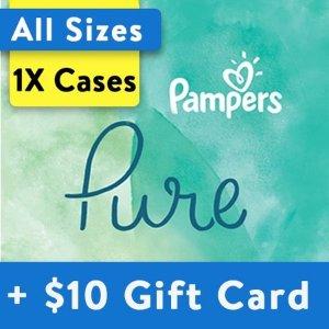 Pampers送$10礼卡Pure系列纸尿裤,以4号为例
