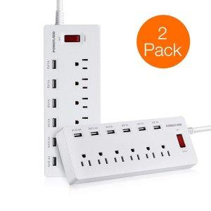 $35.99  (原价$57.99)闪购:Poweradd 6接口带六USB插口接线板 2只装