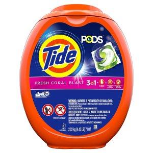 $17.99(原价$18.99)Tide Pods 3合1清香去污洗衣球 81颗