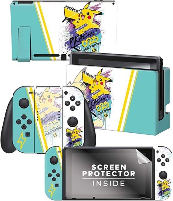 "Controller Gear Officially Licensed Nintendo Switch Skin & Screen Protector Set - Pokemon - ""Skate Pikachu"" Set 2"