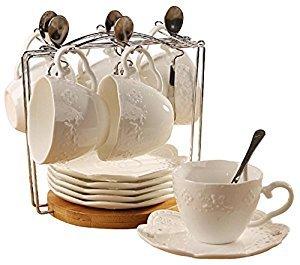 Jusalpha Porcelain Tea Cup and Saucer Coffee Cup Set with Saucer and Spoon, Set of 6 (6 Tea Cup Set With Bracket)