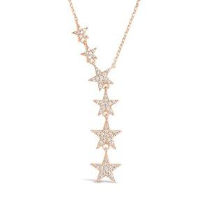 CZ Star Y NecklaceRose Gold
