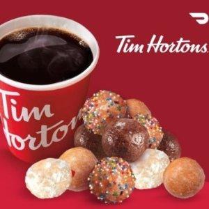 免费送货上门Tim Hortons 咖啡店 Doorcrash 热卖 购买咖啡和 Timbits 享优惠