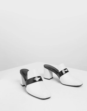 White Block Heel Penny Loafers | CHARLES & KEITH US