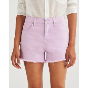 7 For All MankindHigh Waist Short with Frayed Hem in Sweet Lilac