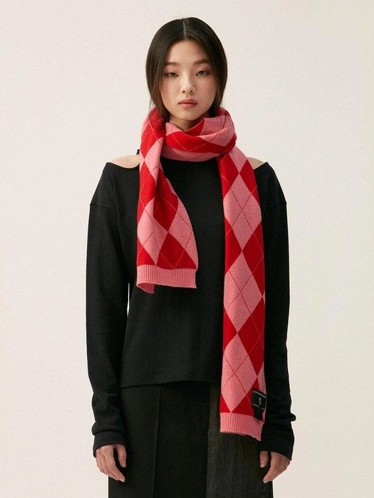 红粉菱格围巾