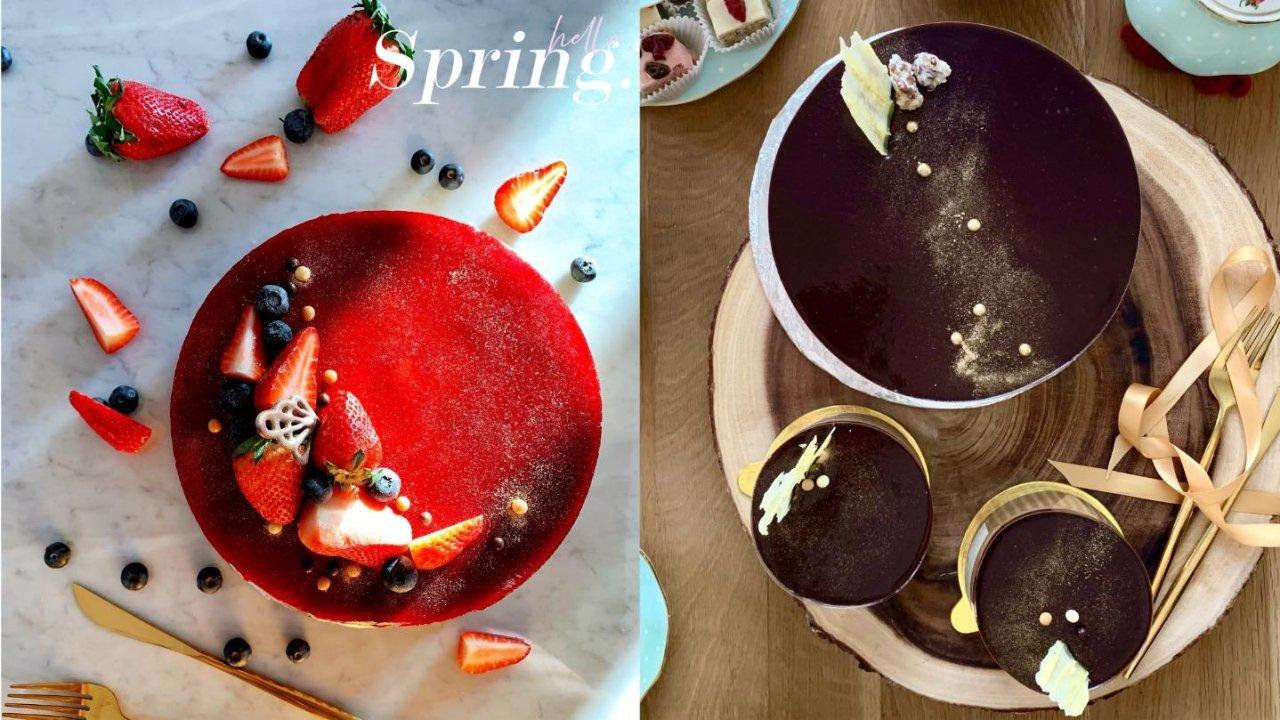 提升手作蛋糕的方法|「巧克力鏡面蛋糕 & 草莓鏡面蛋糕」🍫🍓食譜大公開