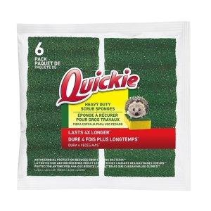 Quickie Long Lasting Heavy Duty Scrubber Sponge, 6/Pack