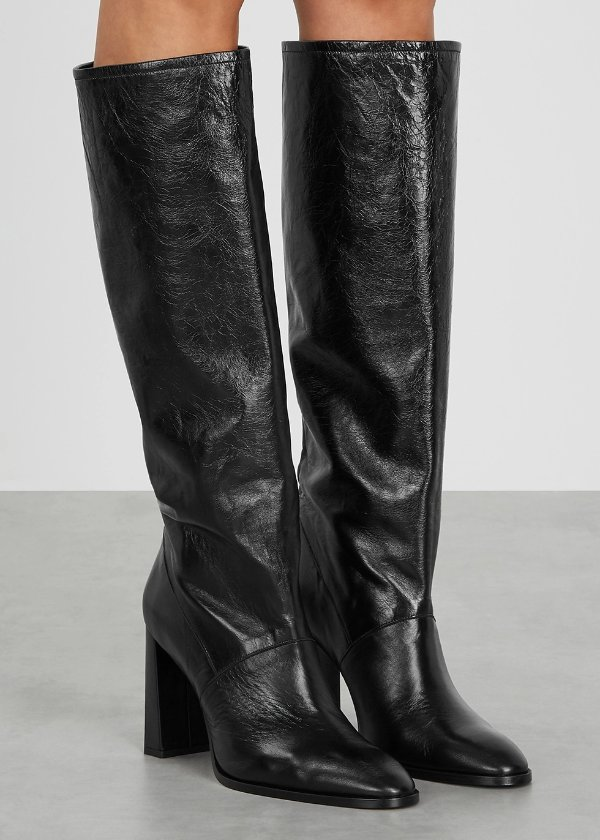 Camilla 100 黑色皮革及膝靴