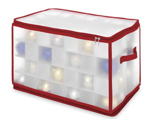 Whitmor Christmas Large Ornament Storage Zip Chest with 112 Compartments