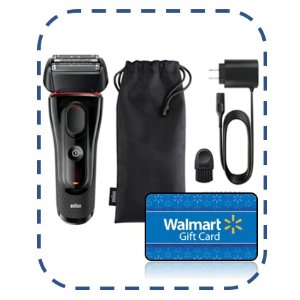 BraunFree $25 Gift Card with Braun Series 5 5030s Men's Electric Foil Shaver, Pop Up Precision Trimmer, Rechargeable and Cordless Razor