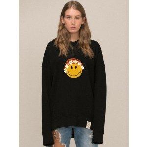 GRAVERBig Flower Beanie Smile Clip Sweatshirt 2 color