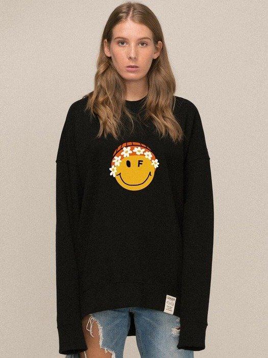 Big Flower Beanie Smile Clip Sweatshirt 2 color